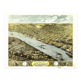 Bird's Eye View the City of Atchison Kansas 1869 Postcard