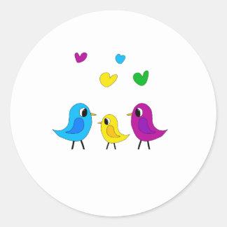 Birds family round sticker