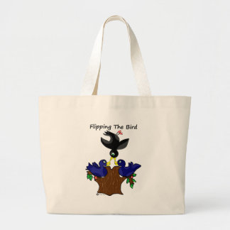 Birds Flipping The Bird Large Tote Bag