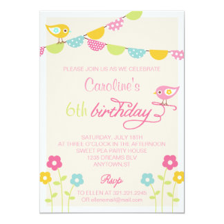 Birds Flowers and Banners Girl Birthday Party 13 Cm X 18 Cm Invitation Card