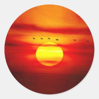Birds Fly On Sky With Sunset Savanna Stickers