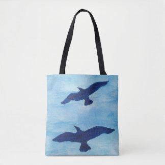 Birds Flying Blue Sky Tote Bag