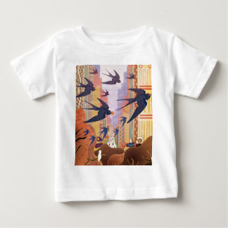Birds Flying in the City Baby T-Shirt