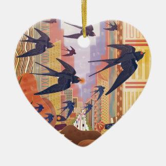 Birds Flying in the City Ceramic Ornament