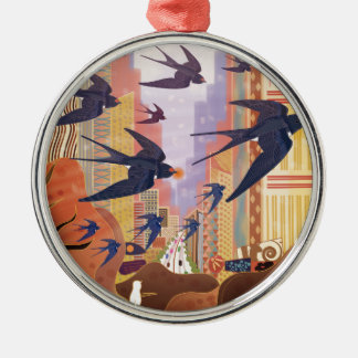 Birds Flying in the City Metal Ornament