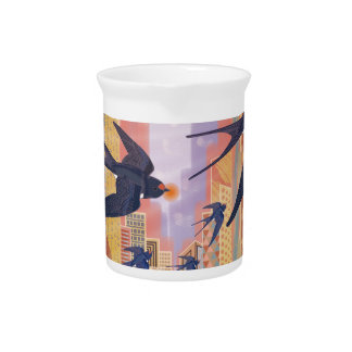 Birds Flying in the City Pitcher