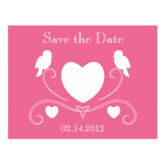 Birds & Hearts Save the Date Postcard