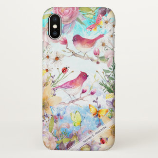 Birds in a Butterfly Garden Personalized Monogram iPhone X Case