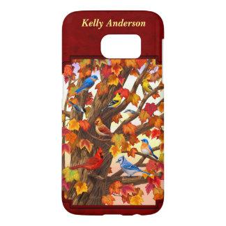 Birds in Autumn Maple Tree Red