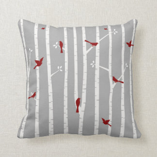 Birds in Birch Trees Red White Grey Cushion