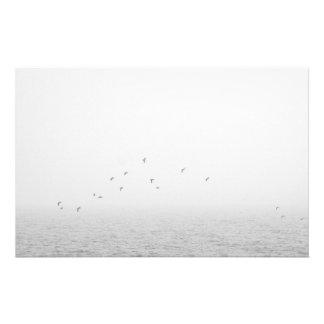 Birds in fog stationery design