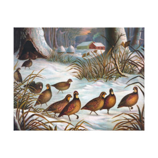 Birds in Snow Vintage Painting Stretched Canvas Prints