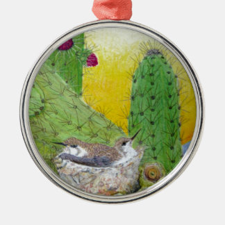 Birds in the desert Silver-Colored round decoration