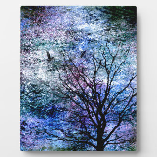 Birds in the Tree in Sparkling Sky Plaque