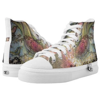 birds in the trees printed shoes