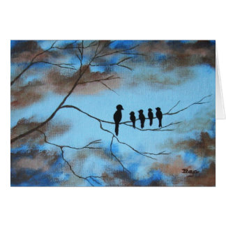 Birds In Tree In Sky Mother's Day Abstract Art Greeting Card