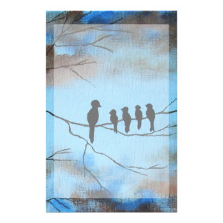 Birds In Tree In Sky Mother's Day Abstract Art Customized Stationery