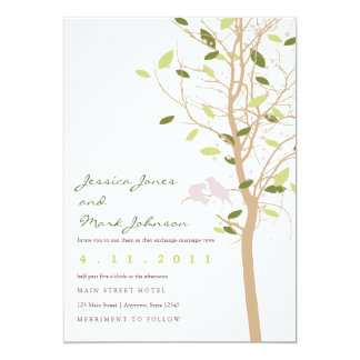 Birds in Tree with Leaves 13 Cm X 18 Cm Invitation Card