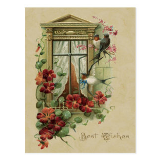 Birds in Window Best Wishes Vintage Reproduction Postcard