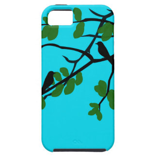 Birds_leaves_tree_blue_design Cover For iPhone 5/5S