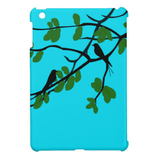 Birds_leaves_tree_blue_design iPad Mini Cover