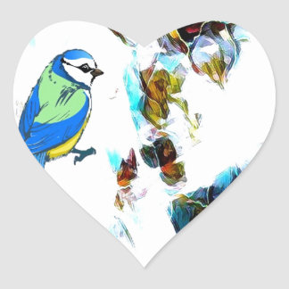 Birds Life by RT Mop Heart Sticker