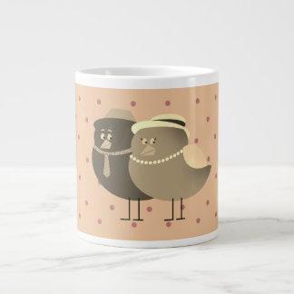 Birds Love Retro Couple Cartoon Polka Dots Pale Large Coffee Mug