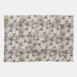 Birds & Music Paper Collage kitchen towel