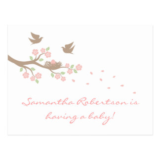 Birds Nest Baby Shower postcard