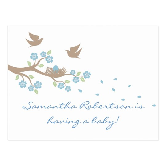Birds Nest Baby Shower postcard