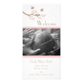 Birds Nest Birth Announcement Personalized Photo Card