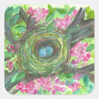 Birds Nest Robins Eggs Watercolor Blossoms Square Sticker