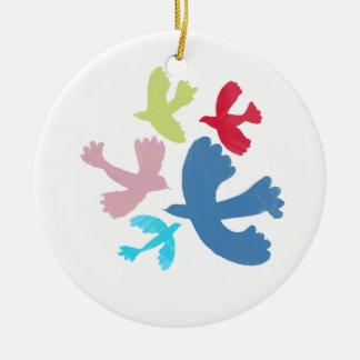 birds of irene round ceramic decoration