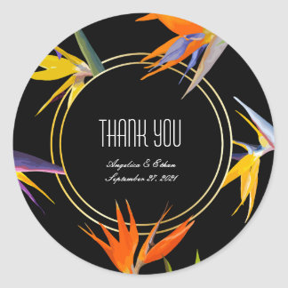 Birds of Paradise Floral Thank You Stickers