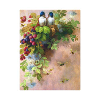 Birds on a Berry Vine Wrapped Canvas Stretched Canvas Print