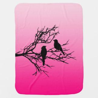 Birds on a Branch, Black Against Dawn Pink Baby Blanket