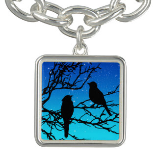Birds on a Branch, Black Against Evening Blue