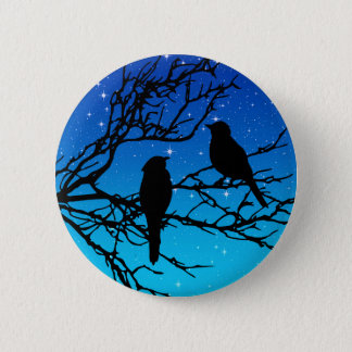 Birds on a Branch, Black Against Evening Blue 6 Cm Round Badge