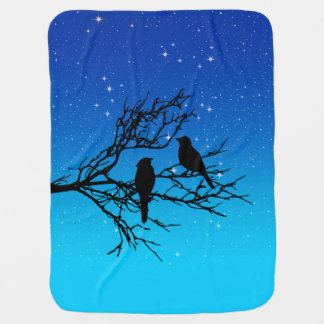 Birds on a Branch, Black Against Evening Blue Buggy Blankets