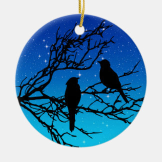 Birds on a Branch, Black Against Evening Blue Ceramic Ornament
