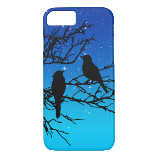 Birds on a Branch, Black Against Evening Blue iPhone 8/7 Case