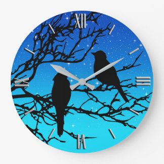 Birds on a Branch, Black Against Evening Blue Large Clock
