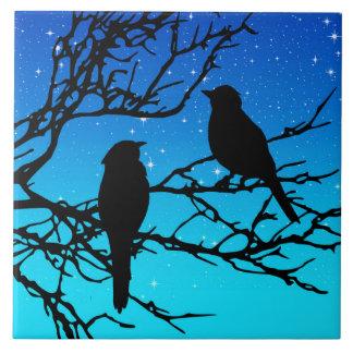 Birds on a Branch, Black Against Evening Blue Large Square Tile