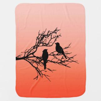 Birds on a Branch, Black Against Sunset Orange Buggy Blankets