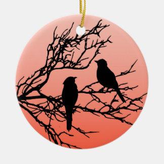 Birds on a Branch, Black Against Sunset Orange Ceramic Ornament
