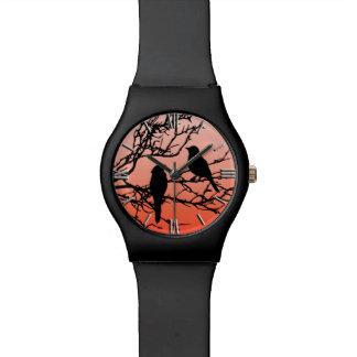 Birds on a Branch, Black Against Sunset Orange Wrist Watch