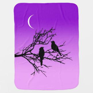 Birds on a Branch, Black Against Twilight Purple Pramblankets