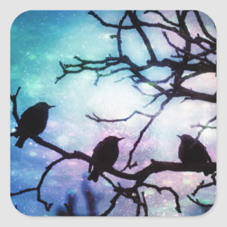 Birds on a Branch - Starlight Square Sticker