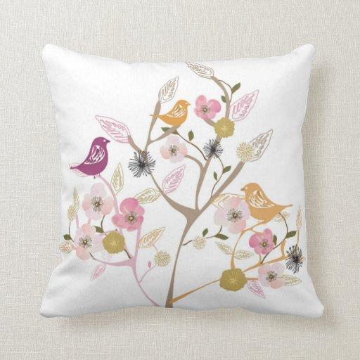 Birds on a cherry blossom tree American MoJo Pillo Throw Pillow