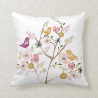 Birds on a cherry blossom tree American MoJo Pillo Cushions